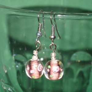 Ohrringe rosa mit Blütenperlen No2