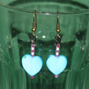 Ohrringe Blaue Perlmuttherzen No3